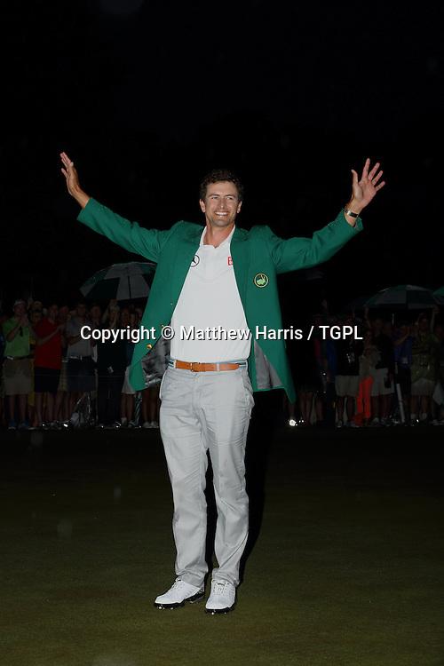 Adam SCOTT (AUS) wears the covered green jacket during fourth round,US Masters 2013,Augusta National,Augusta,Georgia,USA.