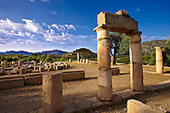 The 1st cent B.C Terrace Temple dedicated to Zeus Soteros  and round sanctuary dating back to the 5th cent B.C and dedicated to the god King Basileus Kaunios, the son of Apollo's son Miletos and the water nymph Kyanee, . Archaeological site of  Kaunos (Caunos), Dalyan Turkey .<br /> <br /> If you prefer to buy from our ALAMY PHOTO LIBRARY  Collection visit : https://www.alamy.com/portfolio/paul-williams-funkystock/dalyan-lycian-tombs-and-kaunos.html<br /> <br /> Visit our TURKEY PHOTO COLLECTIONS for more photos to download or buy as wall art prints https://funkystock.photoshelter.com/gallery-collection/3f-Pictures-of-Turkey-Turkey-Photos-Images-Fotos/C0000U.hJWkZxAbg