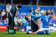 Birmingham City defender Louise Quinn (4) clash of heads injury during the FA Women's Super League match between Birmingham City Women and Brighton and Hove Albion Women at St Andrews, Birmingham United Kingdom on 12 September 2021.