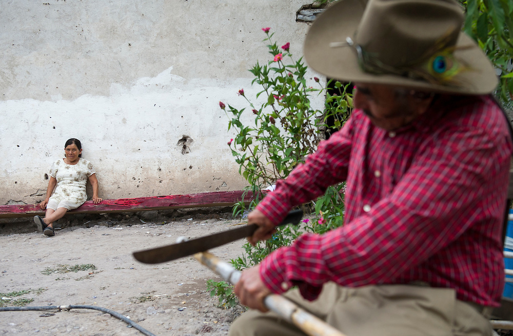 "In this July 26, 2016 photo, newlywed Francisca Santiago, 65, watches her husband, Pablo Ibarra, 75, chop a bamboo stick to serve as a tuna-picker, outside their Santa Ana home, in the Mexican state of Oaxaca. Just three days earlier Santiago married her lifelong partner Ibarra for a second time, but in a religious ceremony at the Catholic church in Santa Ana. ""It was beautiful, everything I hoped for,"" Santiago said. ""Now we are together with the blessing of God."" NICK WAGNER / ASSOCIATED PRESS"