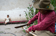 """In this July 26, 2016 photo, newlywed Francisca Santiago, 65, watches her husband, Pablo Ibarra, 75, chop a bamboo stick to serve as a tuna-picker, outside their Santa Ana home, in the Mexican state of Oaxaca. Just three days earlier Santiago married her lifelong partner Ibarra for a second time, but in a religious ceremony at the Catholic church in Santa Ana. """"It was beautiful, everything I hoped for,"""" Santiago said. """"Now we are together with the blessing of God."""" NICK WAGNER / ASSOCIATED PRESS"""