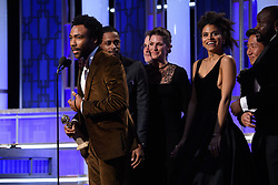 """Jan 8, 2017 - Beverly Hills, California, U.S - Accepting the Golden Globe for BEST TELEVISION SERIES – COMEDY OR MUSICAL for """"Atlanta"""" (FX) is Donald Glover and the cast of """"Atlanta"""" at the 74th Annual Golden Globe Awards at the Beverly Hilton in Beverly Hills, CA on Sunday, January 8, 2017. (Credit Image: ? HFPA/ZUMAPRESS.com)"""