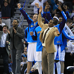 06 February 2009:  The New Orleans Hornets bench including injured starter Chris Paul (center) celebrate during a 101-92 win by the New Orleans Hornets over the Toronto Raptors at the New Orleans Arena in New Orleans, LA.