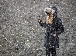 © Licensed to London News Pictures. 24/01/2021. London, UK. A woman takes photographs of heavy Snowfall on Hampstead Heath in Hampstead in north London. Parts of the UK continue to suffer from flooding caused by Storm Christoph. Photo credit: Ben Cawthra/LNP
