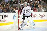 DALLAS, TX - NOVEMBER 1:  Semyon Varlamov #1 of the Colorado Avalanche looks on against the Dallas Stars on November 1, 2013 at the American Airlines Center in Dallas, Texas.  (Photo by Cooper Neill/Getty Images) *** Local Caption *** Semyon Varlamov
