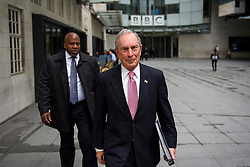 © Licensed to London News Pictures. 19/05/2016. London, UK. Former mayor of New York, Michael Bloomberg leaves BBC Broadcasting House in London, after commenting on the UK referendum on EU membership during a Radio 4 interview. Photo credit: Ben Cawthra/LNP