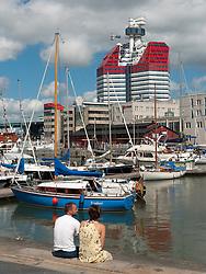 View over harbour during summer at Lilla Bommen in Gothenburg Sweden