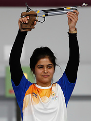 BUENOS AIRES, Oct. 10. 2018  Manu Bhaker of India celebrates winning the women's 10m air pistol final at the 2018 Summer Youth Olympic Games in Buenos Aires, Argentina on Oct. 9, 2018. (Credit Image: © Xinhua via ZUMA Wire)