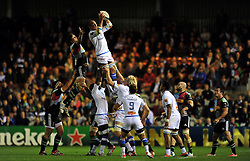 Jannie Bornman of Castres Olympique wins lineout ball - Photo mandatory by-line: Patrick Khachfe/JMP - Mobile: 07966 386802 17/10/2014 - SPORT - RUGBY UNION - London - Twickenham Stoop - Harlequins v Castres Olympique - European Rugby Champions Cup