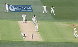 Australia's Cameron Bancroft is runout by Chris Woakes during day one of the Ashes Test match at the Adelaide Oval, Adelaide.