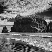 North Ruby Beach Sea Stacks - Olympic National Park, WA - Black & White