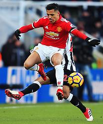 Alexis Sanchez of Manchester United battles with Deandre Yedlin of Newcastle United - Mandatory by-line: Matt McNulty/JMP - 11/02/2018 - FOOTBALL - St James Park - Newcastle upon Tyne, England - Newcastle United v Manchester United - Premier League