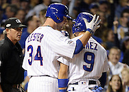 CHICAGO, IL - OCTOBER 15:  Jon Lester #34 greets Javier Baez #9 of the Chicago Cubs after Baez stole home in the second inning against the Los Angeles Dodgers during Game 1 of NLCS at Wrigley Field on Saturday, October 15, 2016 in Chicago, Illinois. (Photo by Ron Vesely/MLB Photos via Getty Images) *** Local Caption *** Javier Baez; Jon Lester