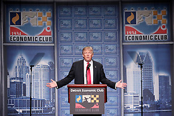 Republican nominee Donald Trump speaks to the Detroit Economic Club at Cobo Center on Monday August 8, 2016 in downtown Detroit, MI, USA. Photo by Salwan Georges/Detroit Free Press/TNS/ABACAPRESS.COM