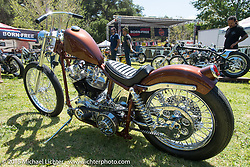 Invited builder Nick Miserendino's custom Harley-Davidson Shovelhead on Friday - for the builder-invite bike check-in for the Born-Free 6 Vintage Chopper and Classic Motorcycle Show. Silverado, CA. USA. June 27, 2014.  Photography ©2014 Michael Lichter.