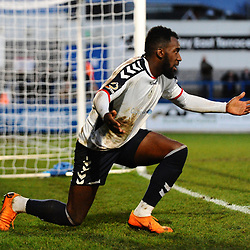 TELFORD COPYRIGHT MIKE SHERIDAN 29/12/2018 - Amari Morgan-Smith of AFC Telford appeals to the referee during the Vanarama Conference North fixture between AFC Telford United and Leamington at the New Bucks Head Stadium.