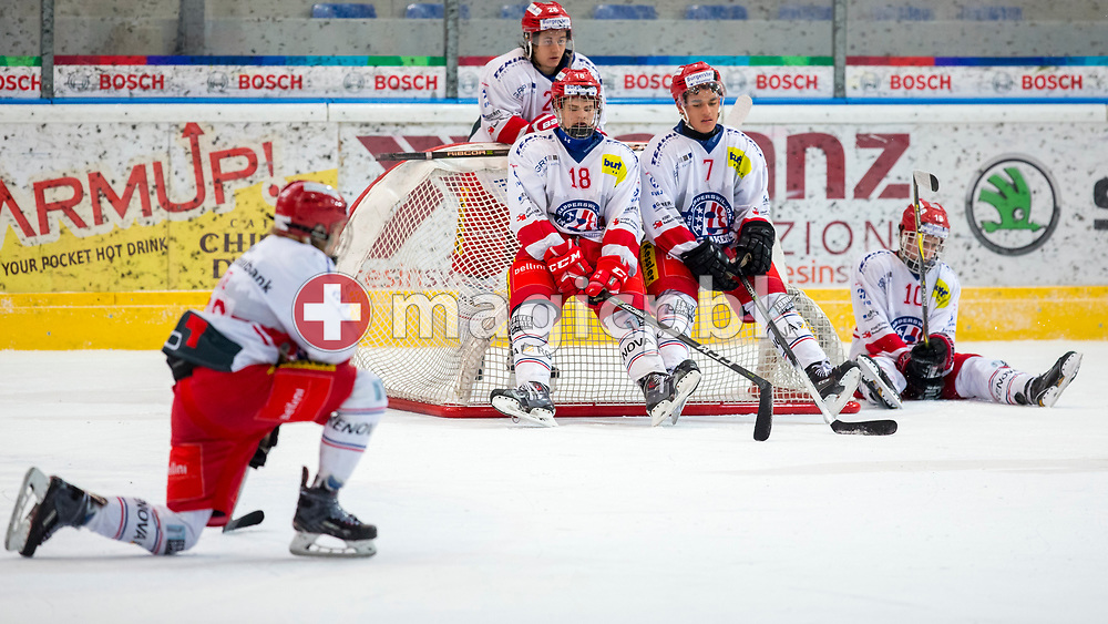 Rapperswil-Jona Lakers forwards Gian Leuenberger (#18), Andreas Tschudi (#7), Siro Rutzer (#28) and their teammates react after a 3-1 defeat in the fifth and final Elite A /B league qualification ice hockey game between HC Ambri-Piotta and Rapperswil-Jona Lakers in Ambri, Switzerland, Saturday, March 31, 2018. (Photo by Patrick B. Kraemer / MAGICPBK)
