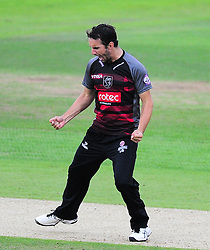 Lewis Gregory of Somerset celebrates the wicket of Tom Alsop.  - Mandatory by-line: Alex Davidson/JMP - 02/08/2016 - CRICKET - The Ageas Bowl - Southampton, United Kingdom - Hampshire v Somerset - Royal London One Day