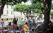 Street cafe in shade of trees at Pont-Saint-Esprit, Gard, France 1974