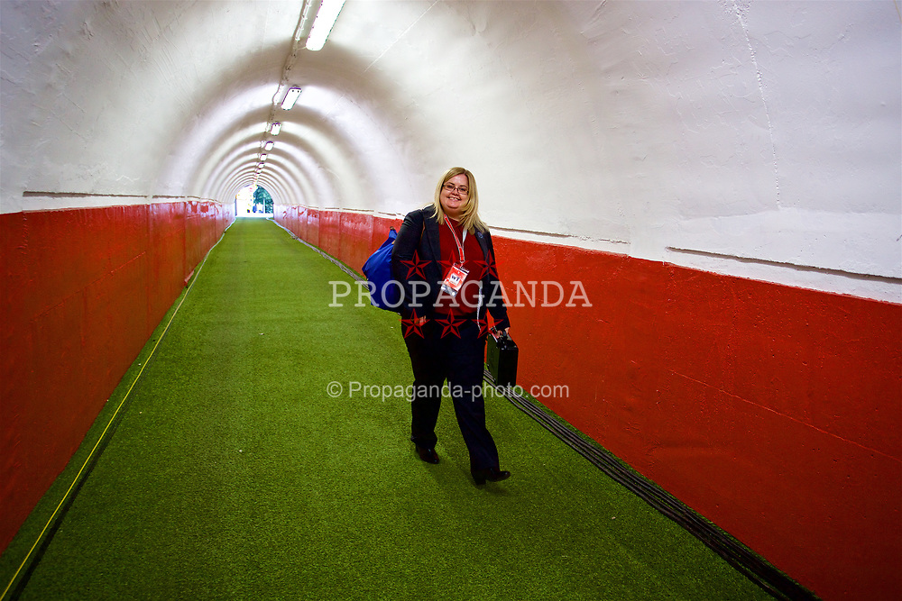 BELGRADE, SERBIA - Sunday, June 11, 2017: Lucy Mason during the 2018 FIFA World Cup Qualifying Group D match between Wales and Serbia at the Red Star Stadium. (Pic by David Rawcliffe/Propaganda)