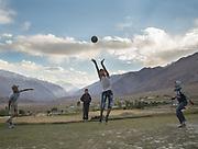 Playing volleyball. In Roshorv village.