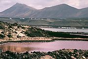 Coastal landscape part of the salt pan evaporation system at Janubio, Lanzarote, Canary Islands, Spain 1979