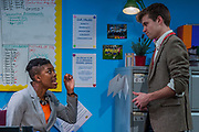 School Play - Independent production company antic | face presents a drama set against the backdrop of an education system in turmoil. Alex MacKeith's debut play asks what it means to be a primary school teacher in contemporary Britain. It is being put on in association with Nik Holttum Productions at the Southwark Playhouse from 1-25 Feb 2017. The cast includes: Oliver Dench, Fola Evans-Akingbola, Gemma Fray, Kevin Howarth, Vida King and Ann Ogbomo. It is directed by Charlie Parham and supported by the Arts Council. Guy Bell, 07771 786236, guy@gbphotos.com