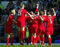 Photo Aidan Ellis.<br />Everton v Liverpool.<br />FA Barclaycard Premiership.<br />30/08/2003.<br />Liverpool celebrate the second goal