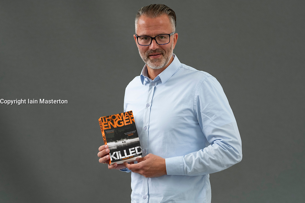 """Edinburgh, Scotland, UK; 17 August, 2018. Pictured; Crime writer Thomas Engers from Norway with new book """"Killed"""" which is the finale of his """"Henning Juul"""" series."""