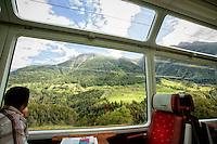 Glacier Express Rail Line to Brig, Switzerland.
