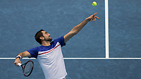 Tennis - 2017 Nitto ATP Finals at The O2 - Day Three<br /> <br /> Group Boris Becker Singles: Marin Cilic (Croatia) Vs Jack Sock (United States) <br /> <br /> Marin Cilic (Croatia) tosses the ball ready to serve at the O2 Arena<br /> <br /> COLORSPORT/DANIEL BEARHAM