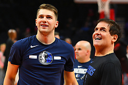 December 20, 2018 - Los Angeles, CA, U.S. - LOS ANGELES, CA - DECEMBER 20: Dallas Mavericks Guard Luka Doncic (77) looks on with owner Mark Cuban before a NBA game between the Dallas Mavericks and the Los Angeles Clippers on December 20, 2018 at STAPLES Center in Los Angeles, CA. (Photo by Brian Rothmuller/Icon Sportswire) (Credit Image: © Brian Rothmuller/Icon SMI via ZUMA Press)