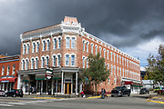 1886 Delaware Hotel Block building in Leadville, Lake County, Colorado, USA. At an elevation of 10,152 feet, Leadville is the highest incorporated city and the second highest incorporated municipality in the United States. A former silver mining town that lies near the headwaters of the Arkansas River in the heart of the Rocky Mountains, the Leadville Historic District contains many historic structures and sites from its dynamic mining era. In the late 1800s, Leadville was the second most populous city in Colorado, after Denver.