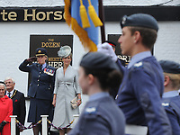 Headley Court Defence Medical Rehabilitation Centre - Farewell Parade, Dorking High Street<br /> <br /> The Countess of Wessex takes the salute as the armed forces, veterans, cadets and other personnel from Headley Court pass through Dorking's High Street, at The White Horse public house.<br /> <br /> COLORSPORT/ANDREW COWIE