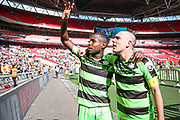 Forest Green Rovers Dale Bennett(6) and Forest Green Rovers Liam Noble(15) during the Vanarama National League Play Off Final match between Tranmere Rovers and Forest Green Rovers at Wembley Stadium, London, England on 14 May 2017. Photo by Shane Healey.