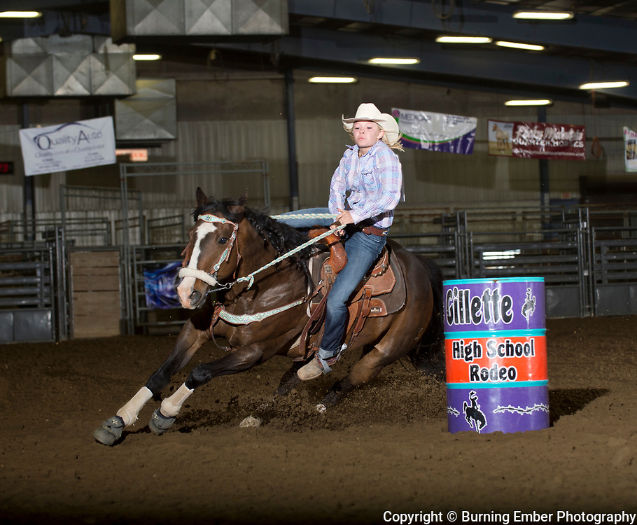 Jayden Igo in the Barrel Racing event during the 2nd go at the Gillette Wyoming High School Rodeo May 14th 2017.  Photo by Josh Homer/Burning Ember Photography.  Photo credit must be given on all uses.