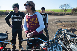 Go Takamine at his Brat Style's flat track racing at West Point Offroad Village. Kawagoe, Saitama. Japan. Wednesday December 6, 2017. Photography ©2017 Michael Lichter.