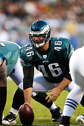 Philadelphia Eagles Long Snapper Jon Dorenbos #46 during the NFL Game between the Indianapolis Colts and the Philadelphia Eagles. The Eagles won 26-24 at Lincoln Financial Field in Philadelphia, Pennsylvania on Sunday November 7th 2010. (Photo By Brian Garfinkel)