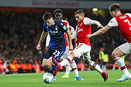 Joe Lolley of Nottingham Forest & Lucas Torreira of Arsenal during the EFL Cup match between Arsenal and Nottingham Forest at the Emirates Stadium, London, England on 24 September 2019.