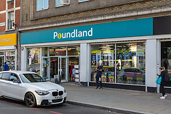 A general view of Poundland where a 17-year-old was able to purchase a knife with no questions asked in an exercise on Streatham High Road where he visited numerous big brand shops in an attempt to purchase a knife to illustrate the extent of knife control and age checking in London stores. Streatham, London, August 30 2019.
