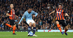 Manchester City's Gabriel Jesus has a shot blocked during the UEFA Champions League match at the Etihad Stadium, Manchester.