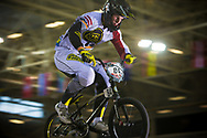 #84 (VEIDE Rihards) LAT at the 2014 UCI BMX Supercross World Cup in Manchester.