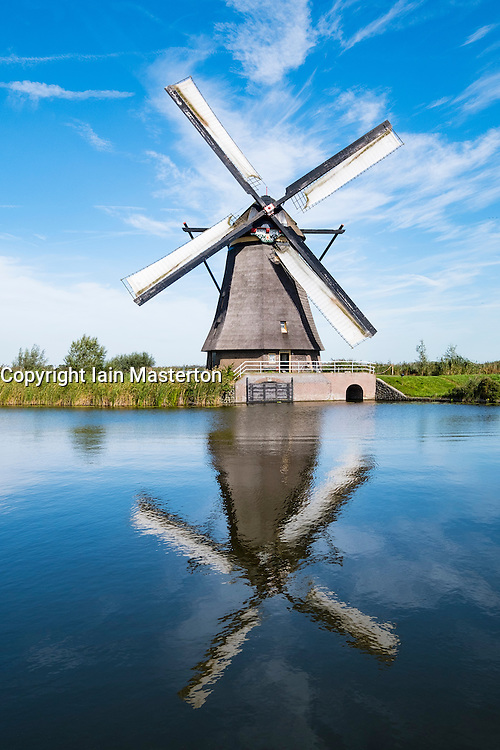 Windmill at Kinderdijk UNESCO World Heritage Site in The Netherlands