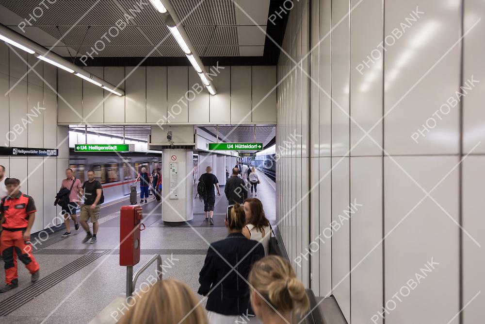 Metro station in Wien. Motion people