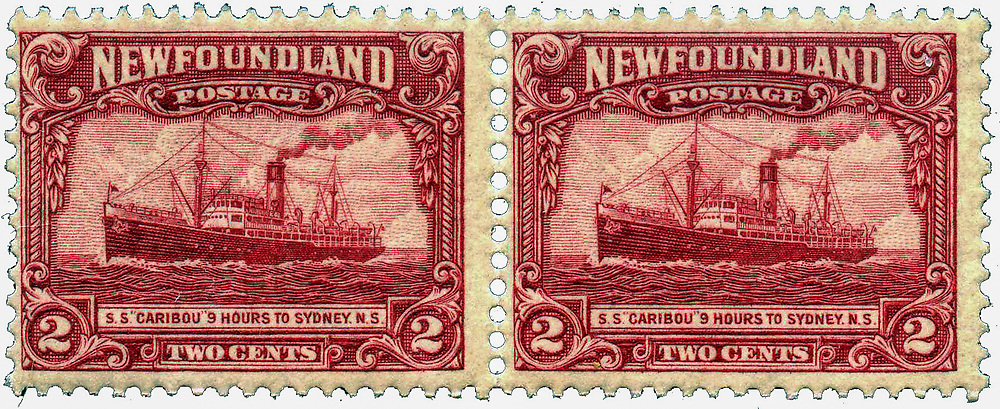 Postage stamp of Newfoundland, 1928. Steamship Scott #146SS. 2 cents Red.  Caribou was a Newfoundland Railway passenger ferry that ran between Port aux Basques, in the Dominion of Newfoundland, and North Sydney, Nova Scotia between 1928 and 1942. During the Battle of the St. Lawrence the ferry participated in thrice-weekly convoys between Nova Scotia and Newfoundland. A German submarine attacked the convoy on October 14, 1942 and the Caribou was sunk. She had women and children on board, and many of them were among the 137 who died. Her sinking, and large death toll, made it clear that the war had really arrived on Canada's and Newfoundland's home front. Her sinking is cited by many historians as the most significant sinking in Canadian-controlled waters during the Second World War.