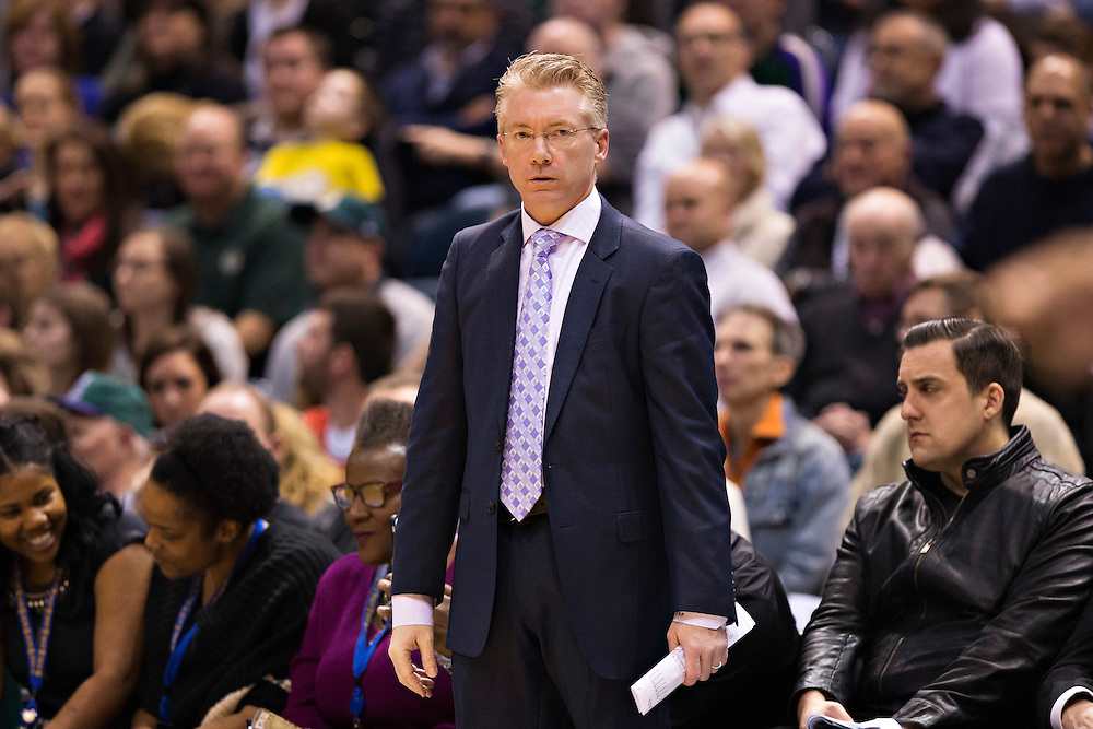 """MILWAUKEE, WI- JANUARY 4:  Interim Head Coach Joe Prunty of the Milwaukee Bucks watches his players during a game against the San Antonio Spurs at BMO Harris Bradley Center on January 4, 2016 in Milwaukee, Wisconsin.  """"NOTE TO USER: User expressly acknowledges and agrees that, by downloading and or using this photograph, User is consenting to the terms and conditions of the Getty Images License Agreement.""""(Photo by Wesley Hitt/Getty Images) *** Local Caption *** Joe Prunty"""