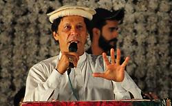 August 13, 2017 - Rawalpindi, Punjab, Pakistan - Chief of Pakistan Tahreek Insaf Imran Khan addressing a public gathering at Liaquat Baigh in Rawalpindi. (Credit Image: © Zubair Abbasi/Pacific Press via ZUMA Wire)