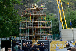 The statue at the top of The Ross Fountain in West Princes Street Gardens has today been lifted off marking the start of the £1.5M renovation by The Ross Development Trust. The two tonne statue was removed by a 15m crane in an operation that lasted around an hour. The statue will now undergo a careful renovation before being returned to Edinburgh in the Autumn.2017, (c) Brian Anderson | Edinburgh Elite media. Thursday 6th July, 2017