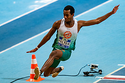 Damian Felter in action on the long jump during AA Drink Dutch Athletics Championship Indoor on 21 February 2021 in Apeldoorn.