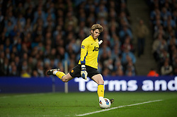 MANCHESTER, ENGLAND - Monday, April 30, 2012: Manchester United's goalkeeper David de Gea in action against Manchester City during the Premiership match at the City of Manchester Stadium. (Pic by David Rawcliffe/Propaganda)